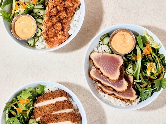 This is what you've been missing. Reunite your taste buds with our Pacific Bowl with your choice of katsu chicken, togarashi tuna or togarashi salmon on a yummy bed of sushi rice. It's finished with spicy miso mayo, pickled cucumber, carrot, greens, sesame and ginger dressing. Order online or in-app now.